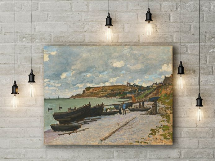 Claude Monet: Sainte Adresse, Fishing Boats on the Shore. Fine Art Canvas.